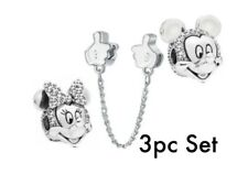 Mickey Minnie White Gloves Charms European Bead fit Bracelet 3pc Set