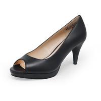Women's Wedding/Party Shoes Mid/Low Heel Round Peep Toe Pumps Dress Black 7.5