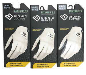 3-PK 2020 Bionic RelaxGrip 2.0 Men's Golf Gloves Durable Black Palm 2-3 Day Ship