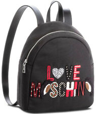 NEWT AUTH LOVE MOSCHINO BEAUTIFUL BLACK  CANVAS  COTTON  BACKPACK BAG