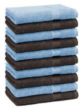 Betz lot de 10 serviettes débarbouillettes Premium: bleu clair & marron foncé
