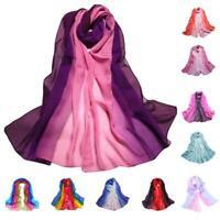 Fashion Women Chiffon Gradient Color Scarf Lady Long Large Soft Wraps Long Shawl