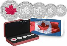Canada 2015 5 Coin Silver Maple Leaf Reverse Proof Incuse Set w Red Enamel 1 Oz