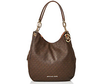 Michael Kors MK Signature Lillie Chain Shoulder Tote Bag Brown Acorn 30t9g0le3b