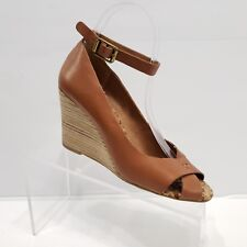 Lucky Brand Gable Wedge Heel Sandals Brown Tan Leather Ankle Strap Size 7.5 M