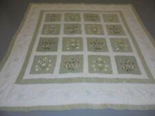 Nice Green & White Cotton & Velvet Window Frame w/Ribbon Flowers & Frame Quilt