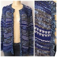 $129 Chicos Size M Structured Fringe Cardigan Sweater L/S Pattern Blue Multi NWT
