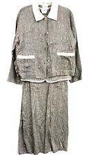VTG Dressing Clio 3PC Womens Linen Blend Outfit Jacket Vest Dress Sz Med 1980s