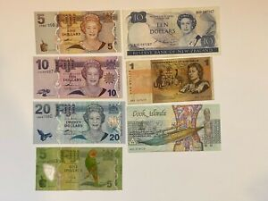 Fiji, New Zealand, Australia and Cook Islands Circulated to aUNC Currency Lot