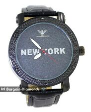 mens black diamond New York clubbing watch black dial leather man