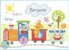 Cross Stitch Mini Kit ~  Dimensions Cute Animal Train Baby Birth Record 70-73925