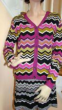 MISSONI Target Fuchsia Multi Passione Zig Zag Knit Sweater Cardigan V-Neck XL