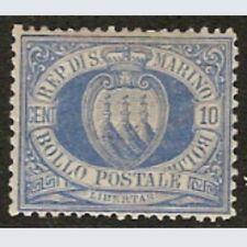 Repubblica San Marino 1877 Stemma Cent. 10 oltremare n. 3 Nuovo * Diena  S