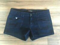 Women's Guess Dark Wash Denim Jean Shortie Shorts Blue Pockets Sz 27