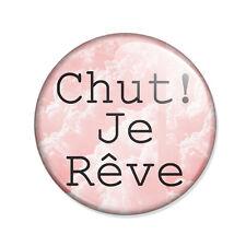 Badge CHUT JE RÊVE nuages roses esprit bohème boho pink cloud dream pins Ø25mm