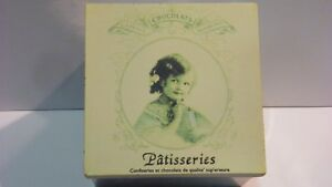 Storage organizer tin box french chocolates patisserie decorative square vintage
