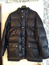 Gucci Mens Black Leather Puffer Coat with real Goose Down fill