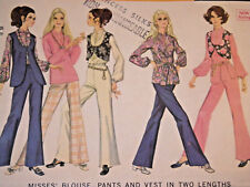 Mc-9689 Vintage 60s Blouse Vest Pants Sewing Pattern McCall's Size 16 Complete