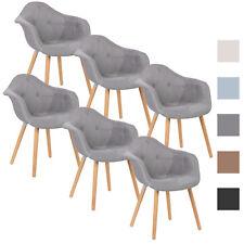 6er Set Esszimmerstühle Design Küchenstuhl Holz Leinen Grau BH55gr-6