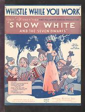 SNOW WHITE 1938 Whistle While You Work DISNEY Movie Vintage Sheet Music Q27