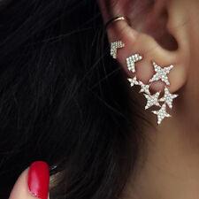 LX_ 3Pcs Women Gold Crystal Ear Cuff Cartilage Wrap Star Ear Stud Earrings Set