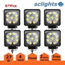 "6X 4""IN 27W LED Work Lights Square Offroad For Jeep Driving ATV UTE Truck Flood"