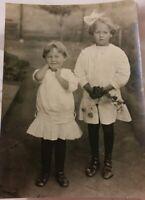 Vintage Old 1912 Photo of 2 Edwardian Children Little Blonde Girls California