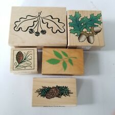 Rubber Stamps Autumn Acorn Leaf Hero Arts Commotion 5 Large Small Wood Mounted