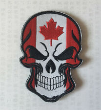 Canada Skull head MILITARY MORALE BADGES EMBROIDERED HOOK PATCH   sh+1045