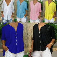 Women Plus Size Loose Blouses Ladies Deep V Neck Long Sleeve Casual Lace Tops