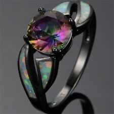 Fashion Women Jewelry Rainbow Crystal Fire Opal Black Gold Engagement Ring Gift 10