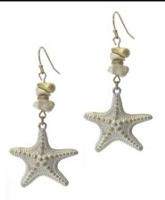 NAUTICAL UNDER THE SEA STAR FISH WHITE WASHED FAUX WHITE ROCK GOLD TONE EARRINGS