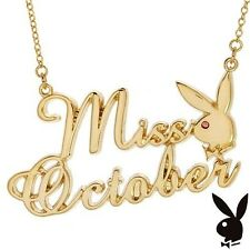 Playboy Necklace Pendant Chain Swarovski Crystal Gold Plated Bunny MISS OCTOBER
