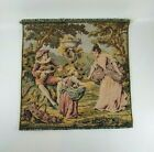 """French Tapestry Wall Hanging 10"""" x 10"""" Courtship Ladies Dancing Made in France"""