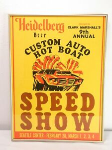 ORIGINAL 1973, 9th Annual, SEATTLE SPEED SHOW POSTER Art HOT ROD Vtg Ad CAR SIGN