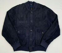 florence leather school italy blue suede leather button bomber jacket 58 xl 2xl