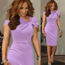 Elegant Ladies Cap Sleeve Asymmetric Knotted Bodycon Cocktail Party Pencil Dress