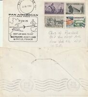 US 1960 FAM 18 FIRST FLIGHT FLOWN COVER BALTIMORE MARYLAND TO PARIS FRANCE