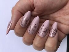 *Handpainted Press On Nails Nude Pink with Rose Gold Glitter Medium Almond*