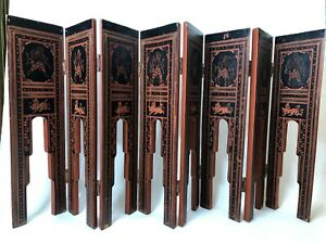 """Vintage India Small 8 Panel Hanpainted Wooden Folding Screen, 19"""" Tall, 42"""" Wide"""