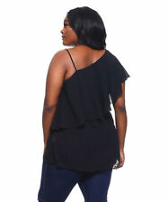Womens Black Off Shoulder/One Strap Top LOVE JANE Plus Size 2X