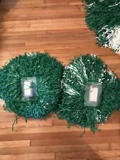 Vintage Rare Dehen Large Cheer Pom Poms Green/white Lot Of 2 Usa Made cheer