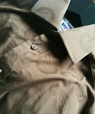 "T M Lewin John Francomb Milan Choc Paisley Shirt Size L 15"" Absolutely Gorgeous!"