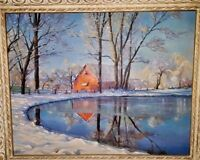 Oil Painting original  Winter Landscape with Frame Artist  H. White