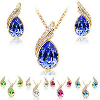 EG_ Women's Party Waterdrop Jewelry Set Crystal Pendant Necklace Earrings Charmi