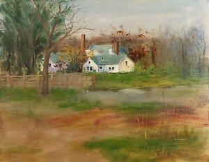 Original oil painting on linen landscape freehand Paradise