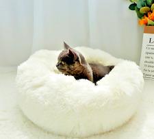 Pet Cat Warm Plush Bed Luxury Dog Cushion Sleeping Nest Soft Round Calming Sofa