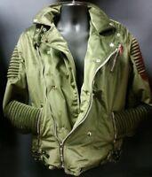 Men's Black Keys Velvet Biker Jacket - Olive Green