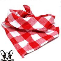 Bandana Check Dog Bandana Neckerchief Red & White Check