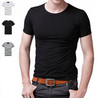 New Men Crew Neck Top Tee Shirt Slim Fit Short Sleeve Solid Color Casual T-Shirt